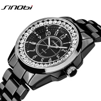 Bling Rhinestone SINOBI Luxury Steel Quartz   Watch     Women   Clock Female Ladies Dress Wristwatch Gift Silver Gold 2016 Relojes Mujer