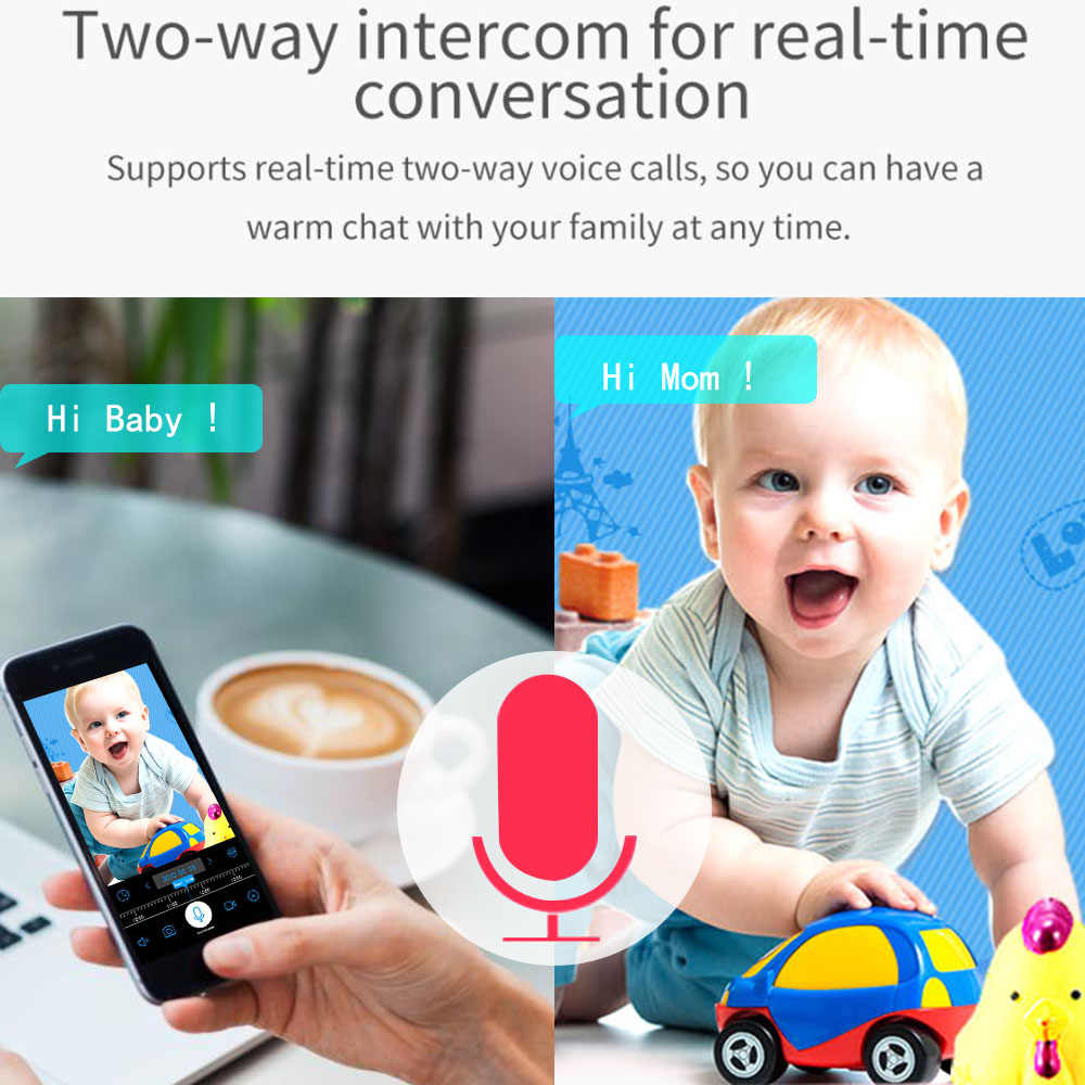 Monitor de bebé WiFi con cámara 1080P HD Video bebé durmiendo Nanny Cam de dos vías de Audio visión nocturna cámara de seguridad del hogar Babyphone