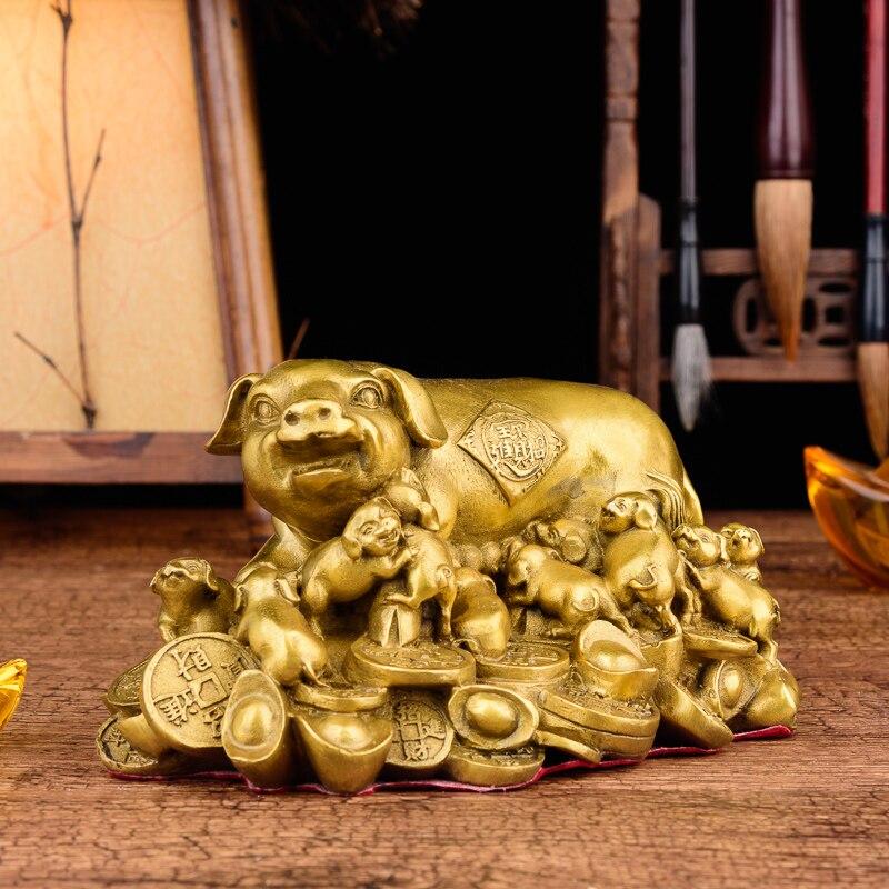 Statuen & Skulpturen Aufrichtig Feng Shui Handgemachte Chinesische Zieht Reichtum Schwein Mit Schweine Statue Dekoration Geschenk Messing Finish Schwein Sammeln Figuren R132
