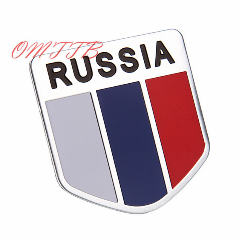 GOOD 3D Aluminum Russia Flag car sticker accessories Emblem  stickers For ford focus chevrolet skoda honda Auto Badge Decal 1 pair door protector anti collision canada flag emblem 3d car stickers creative car styling automobile accessories