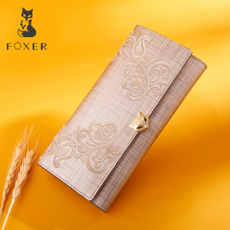 FOXER Women Fashion Leather Long Wallet Phone Bag Card Holder Luxury Coin Purse for Women Standard Wallets foxer famous brand women cow leather long wallets female clutch bag fashion coin holder luxury purse for lady women s wallet