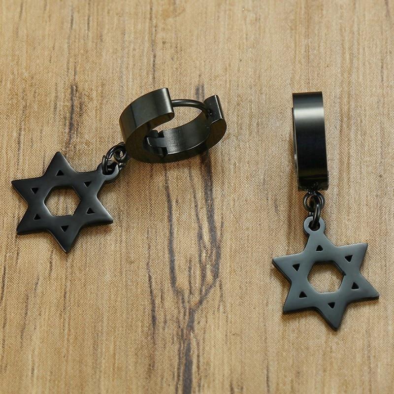 Boucles d'oreilles uniques en forme de cerceau hexagramme  5