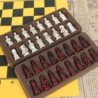 New Antique Chess Small Leather Chess Board Qing Bing Lifelike Chess Pieces Characters Parenting Gifts Entertainment