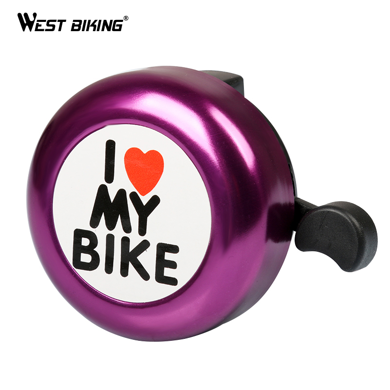 WEST BIKING Bike Bell Love Paintted Bicycle Handlebar Alarm Road MTB Cycling Alarm Loud Sound Warning Horn Bicycle Bell