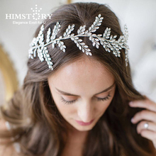 Himstory Gorgeous Handmade Gold Wired Crystal Rhinestones Wedding Hair Vine Headband Bridal Headpiece Hair accessories Hairband недорого