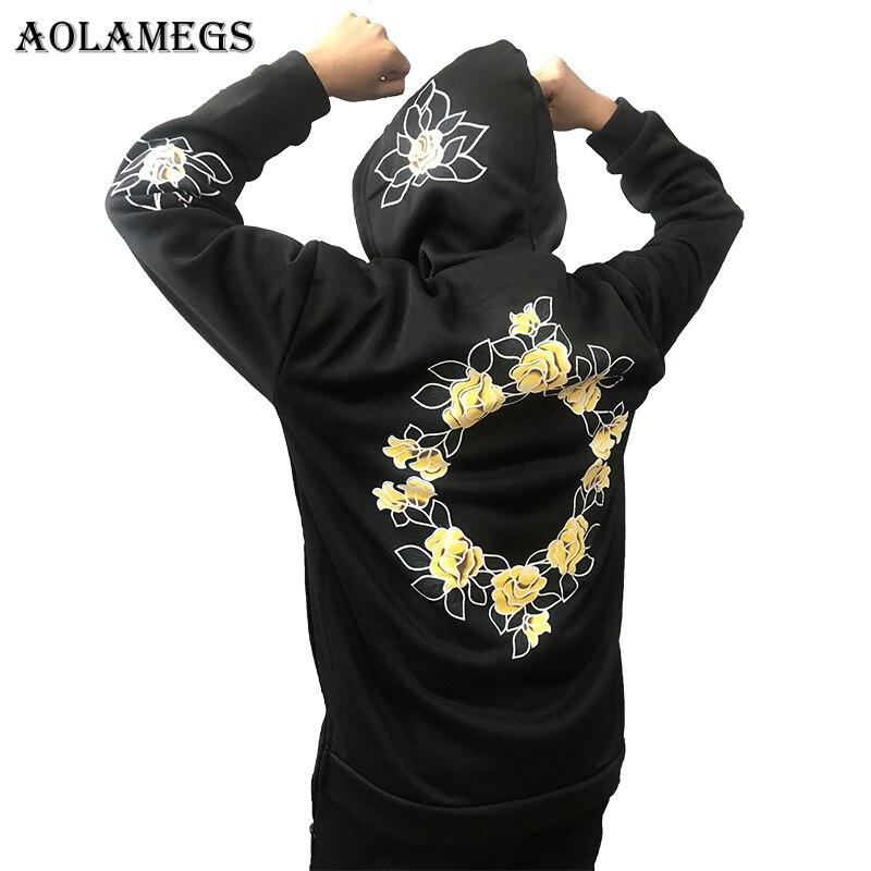 Aolamegs Hoodies Männer Einfache Druck Floral Kapuzen Pullover High Street Fashion Cotton Hip Hop Streetwear Oansatz Hoodie Herbst