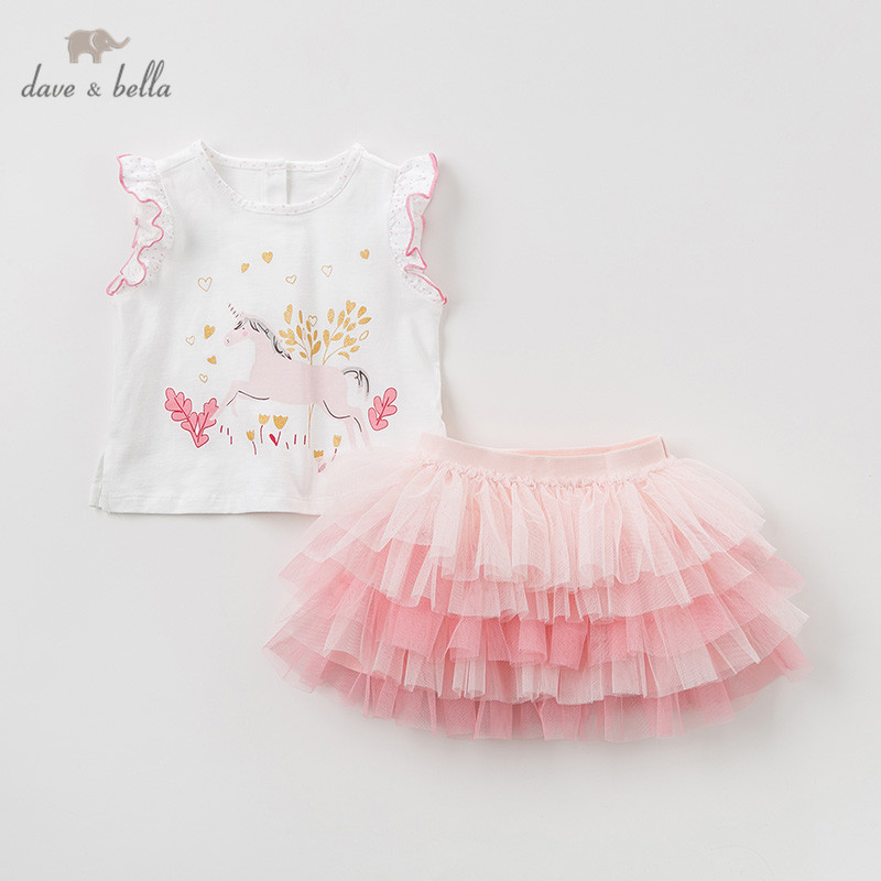 DBA9413 Dave bella summer baby girl clothing sets cute children animal suits infant high quality clothes