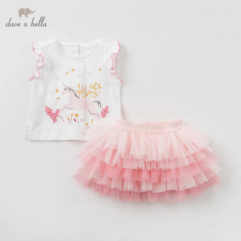 DBA9413 Dave bella summer baby girl clothing sets cute children animal suits  infant high quality clothes girls pullover outfit