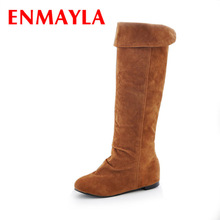 ENMAYLA Big Size 34-43 Hot Sale High Quality Women's Knee High Boots Fur Snow Boots Winter Woman Shoes Buckle Long Boots