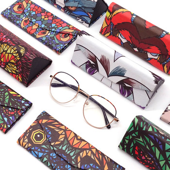 KLASSNUM New Triangle Foldable Glasses Case Cartoon Animal Eyeglasses Box Protable Sunglasses Container Eyewear Accessories marble foldable glasses box