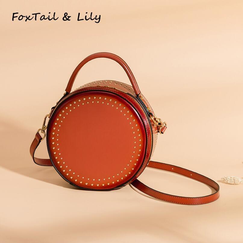 FoxTail & Lily Retro Rivet femmes Messenger sacs en cuir véritable petit sac rond dames sacs à main Designer épaule sac à bandoulière
