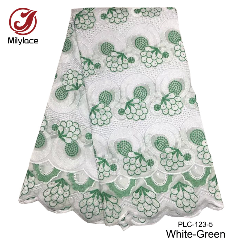 Swiss cotton lace fabric green and white african