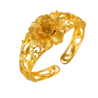 Filigree Thick Bangle Gold Plated Flower Bracelet New Retro Girls Cuff Bracelet Wedding Accessories Lady S