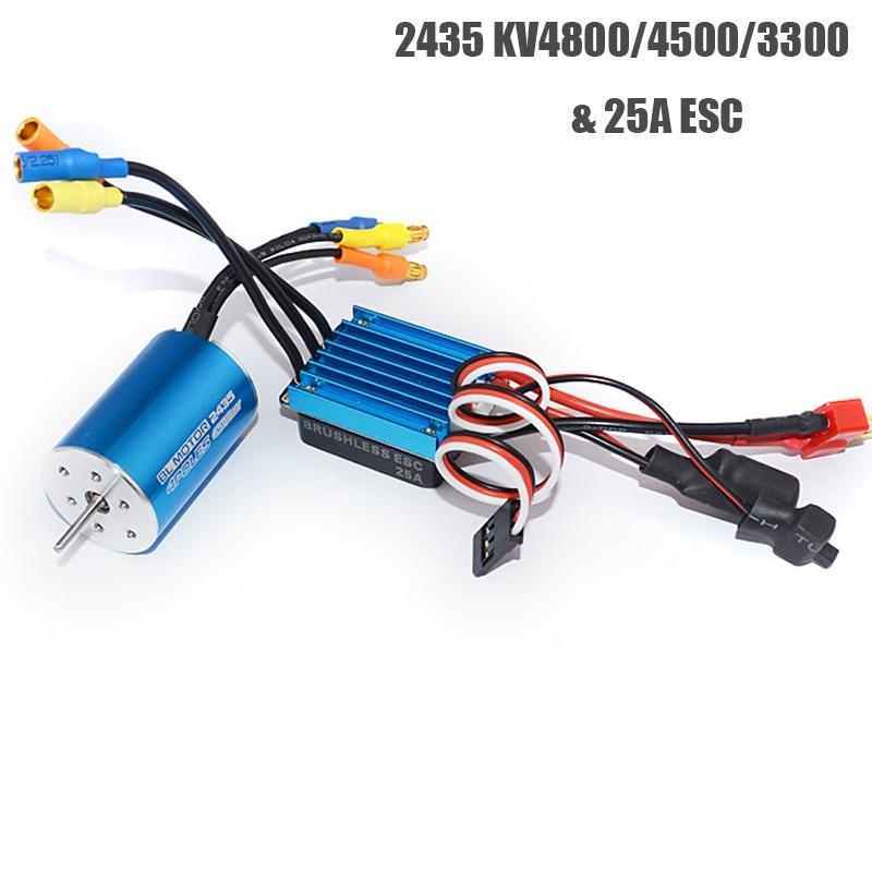 RC 2435 KV4800/4500/3300 4P Sensorless Brushless Motor With 25A Brushless ESC For 1/16 1/18 RC Car Off Road Truck