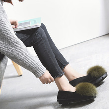 Korean Walking Shoes Woman Winter Maomao Shoes Female Rabbit Girl Shoes With Thick Soles Of Shoes Cashmere Doug Flat Shoes