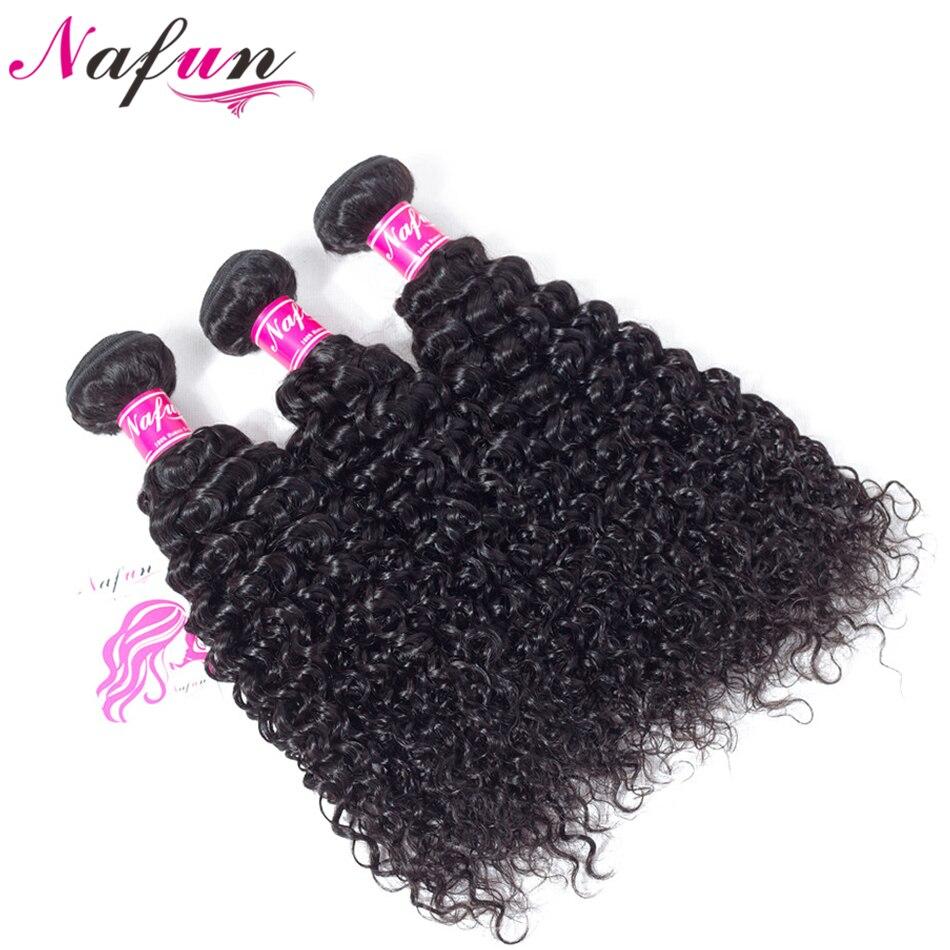 NAFUN волос Малайзии странный вьющихся волос, плетение Связки 100% человеческих Инструменты для завивки волос натуральный Цвет-Волосы remy Связк...