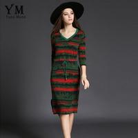 YuooMuoo Women Half Sleeve V Neck Belt Slim Army Green Striped Dress Spring Autumn Elegant Knitted