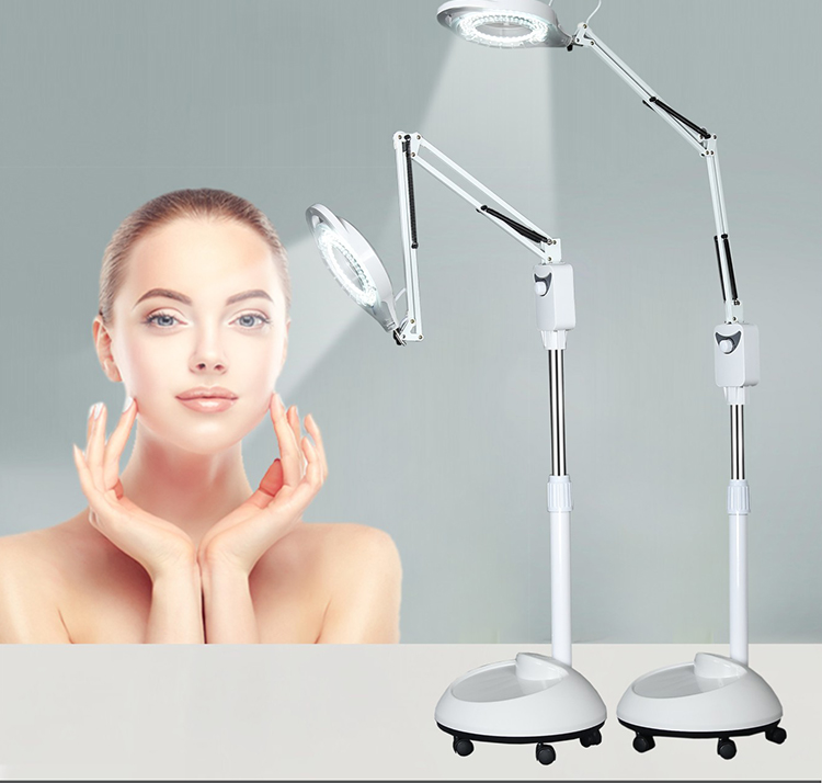 220v Large Standing Rotatable LED Illuminated Magnifier 5x Big Magnifying Glass With LED Light Beauty Salon Nail Tattoo Loupe