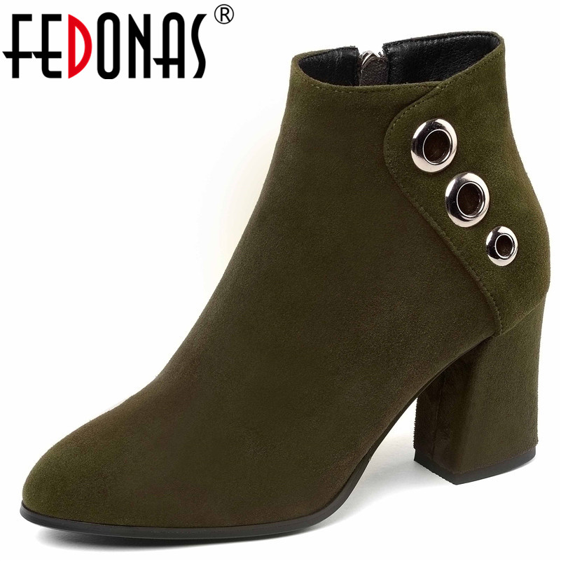 FEDONAS New 2019 Quality Fashion Winter Ankle Boots Shoes Woman Round Toe Zipper Rivets Short Party Wedding Shoes Autumn Boots new flat ankle boots half short boots 2015 fashion autumn winter footwear leisure quality vintage shoes woman casual boots shoes