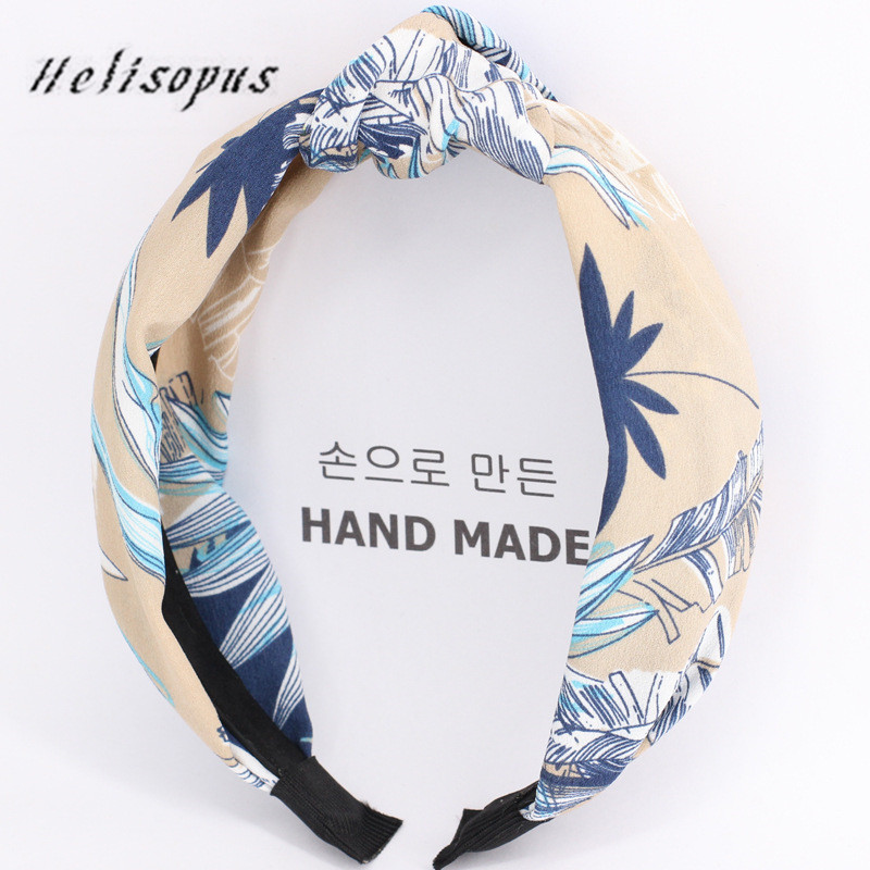 Apparel Accessories Diligent Helisopus Seaside Holiday Wind Forest Banana Leaf Printed Hair Band For Women Hair Accessories Turban Hair Bow Headdress Highly Polished