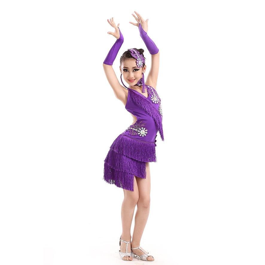 Diamond Flower Tassel Fringe Latin Dance Dress Purple/Red/White/Green Dance Dress GirlsSamba Dance Costumes Tango/Ramba Clothes