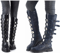 High Quality Knee High Winter Boots Western Style Women Boots Medal Buckles Soft Leather Boots Shoes