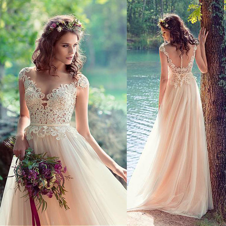Fantastic Tulle V-neck Neckline A-line Beach Wedding Dresses With Lace Appliques Nude Bridal Gowns Vestido Noiva
