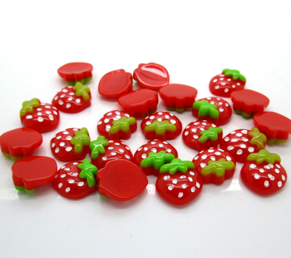 40Pcs Red Resin Strawberry Embellishments Flatback Cabochon Scrapbook Wedding Decoration Diy Craft Accessories