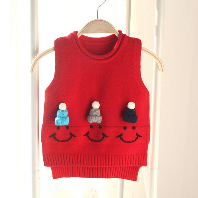 586349bc25 SMDPPWDBB New Autumn Children Clothing Cute Pattern Sweater Vest Baby Girls  O-Neck Knitted Woolen Sweater Pullover kids vest