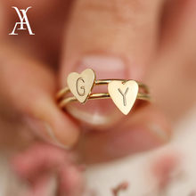 Personalized Hand Stamped Stacking A-Z Initial Ring Bohemian Engraved Letter Rings for Women Gold Color Heart Rings(China)