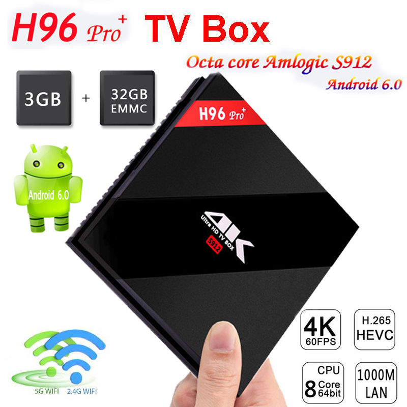 NEW H96 PRO + Android 6.0/7.1 TV Box Amlogic S912 Octa Core 3G/32G WiFi Fully Loaded DLNA Miracast 4K Player IPTV set top box km8 pro 10pcs android tv box amlogic s912 8 core km8 pro 2g 16g android 6 0 dual wifi fully loaded unlocked 4k bt4 0