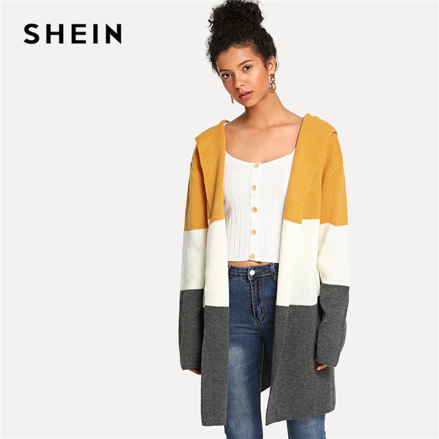 SHEIN Multicolor Preppy Elegant Open Front Color Block Casual Hooded Cardigan  Sweater 2018 Autumn Campus Women 9980f58df