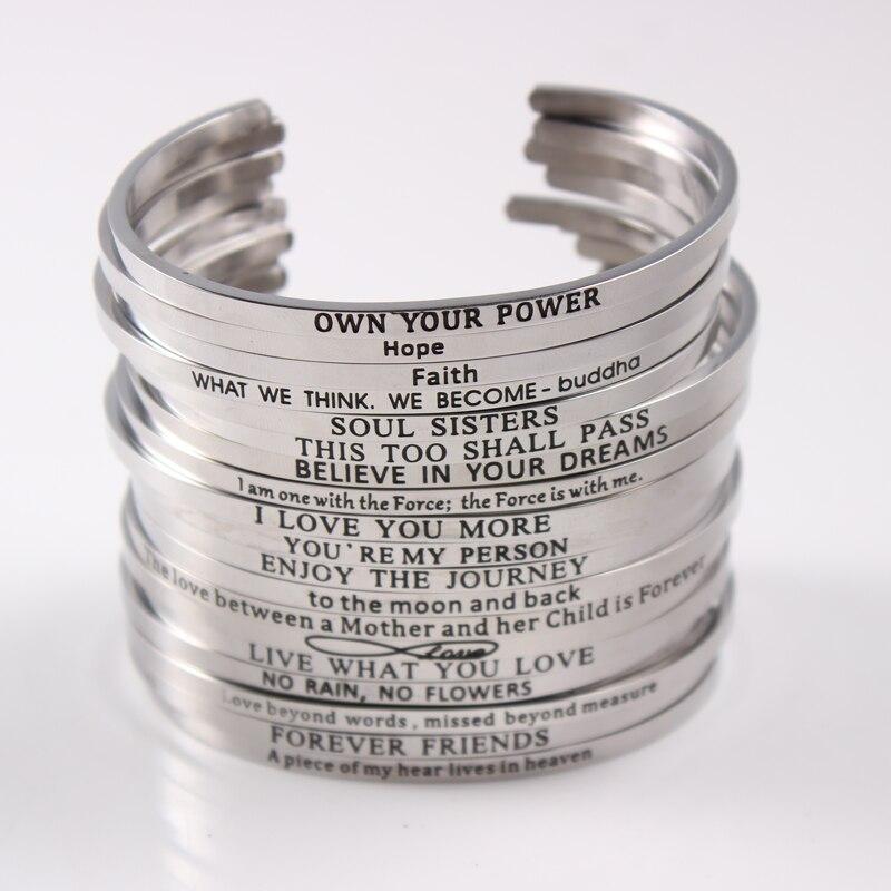 654334bc2300 Acero inoxidable pulsera abierta cotizaciones Mantra pulseras y brazaletes  grabado palabras pulsera brazalete joyería
