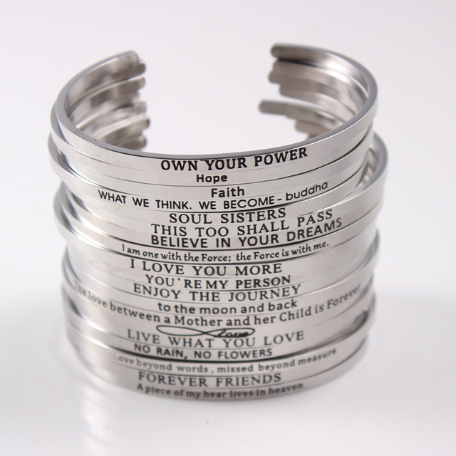 Bracelet Quotes Stainless Steel Open Cuff Bracelet Quotes Mantra Bracelets  Bracelet Quotes