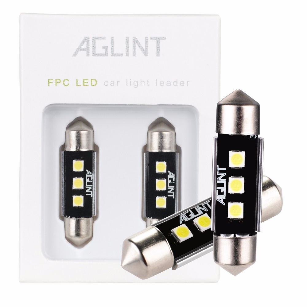 AGLINT 2PCS C5W Festoon 36mm 3030 3 LEDs Interior Canbus Lighting Reading Doom Trunk Light no error Extreme Bright White 12V image