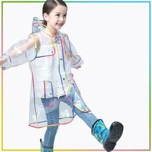 Children Raincoat EVA Transparent Waterproof Rain Coat For Girls Kids Childrens Clear Rainwear Hooded Outdoor Camping