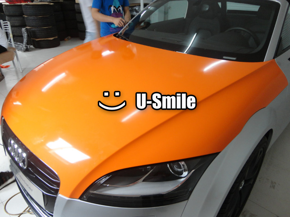 Orange Glossy Vinyl Wrap Film Gloss Orange Vinyl Roll For Car Wrap Film Air Free Bubble Size:1.52x30m/Roll