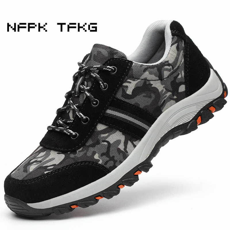 large size 45 46 men fashion camouflage steel toe caps work safety shoes outdoors non-slip anti-puncture tooling security boots