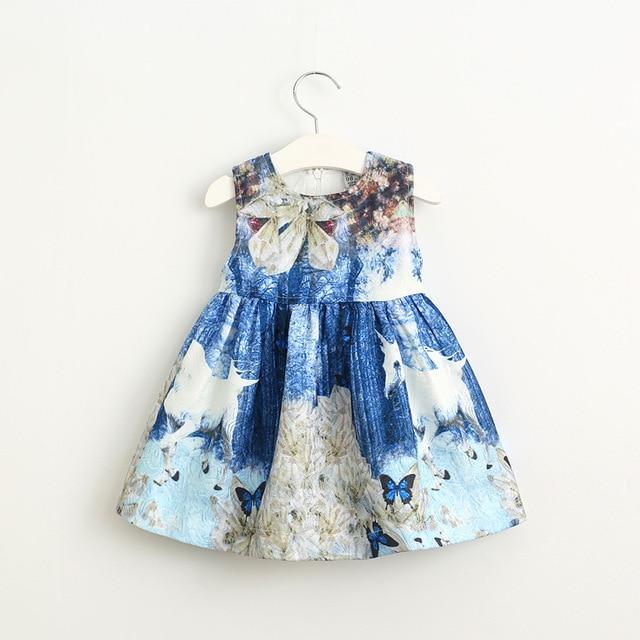 2017 spring new casual dress fashion girl's Unicorn Print vest dress toddler baby girls kids high quality autumn clothing