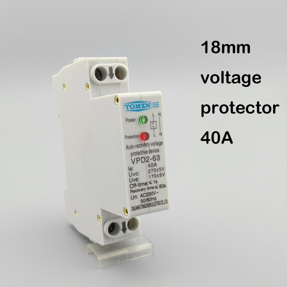 18mm 40a 230v 50 60hz Automatic Recovery Reconnect Over Voltage And Mini 8channel Wireless Remote Control Switch Relay Dc9v Dc12v On Off Under Protective Device Protector Protection