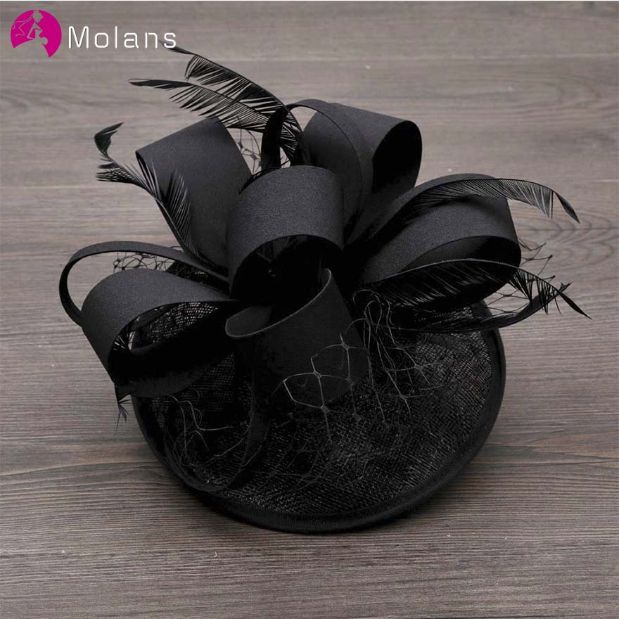 MOLANS Simple Solid Feather Mesh Fascinator For Elegant Women Handmade Black Floral Fancy Prom Hat For Party Hair Accessories