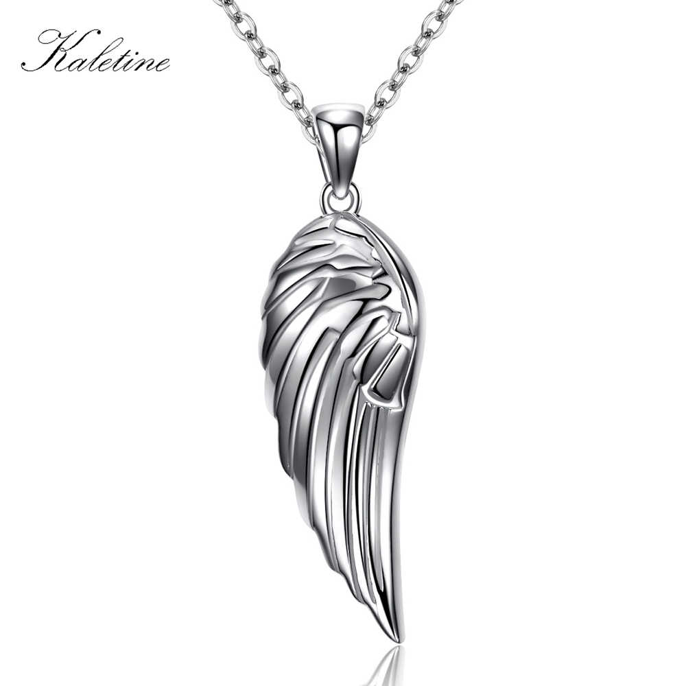 Genuine 925 Sterling Silver Bling Bling Shine Sparkling Full CZ Stone Wing Feather Pendant Charm Necklace