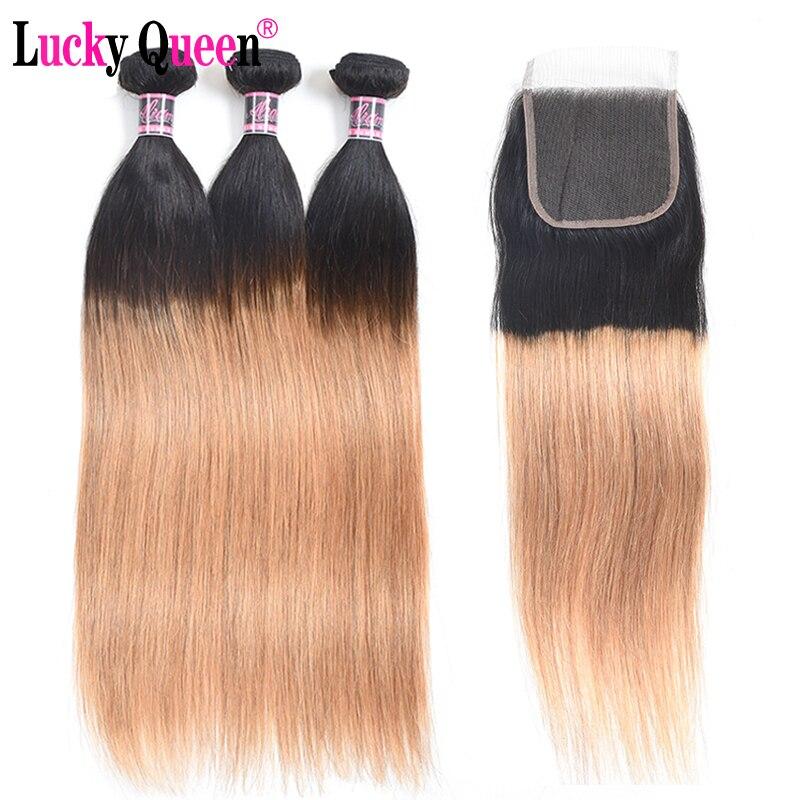 Brazilian Straight Hair 3 Bundles With 4 4 Closure 1b 27 Remy Hair Weave 4pcs lot