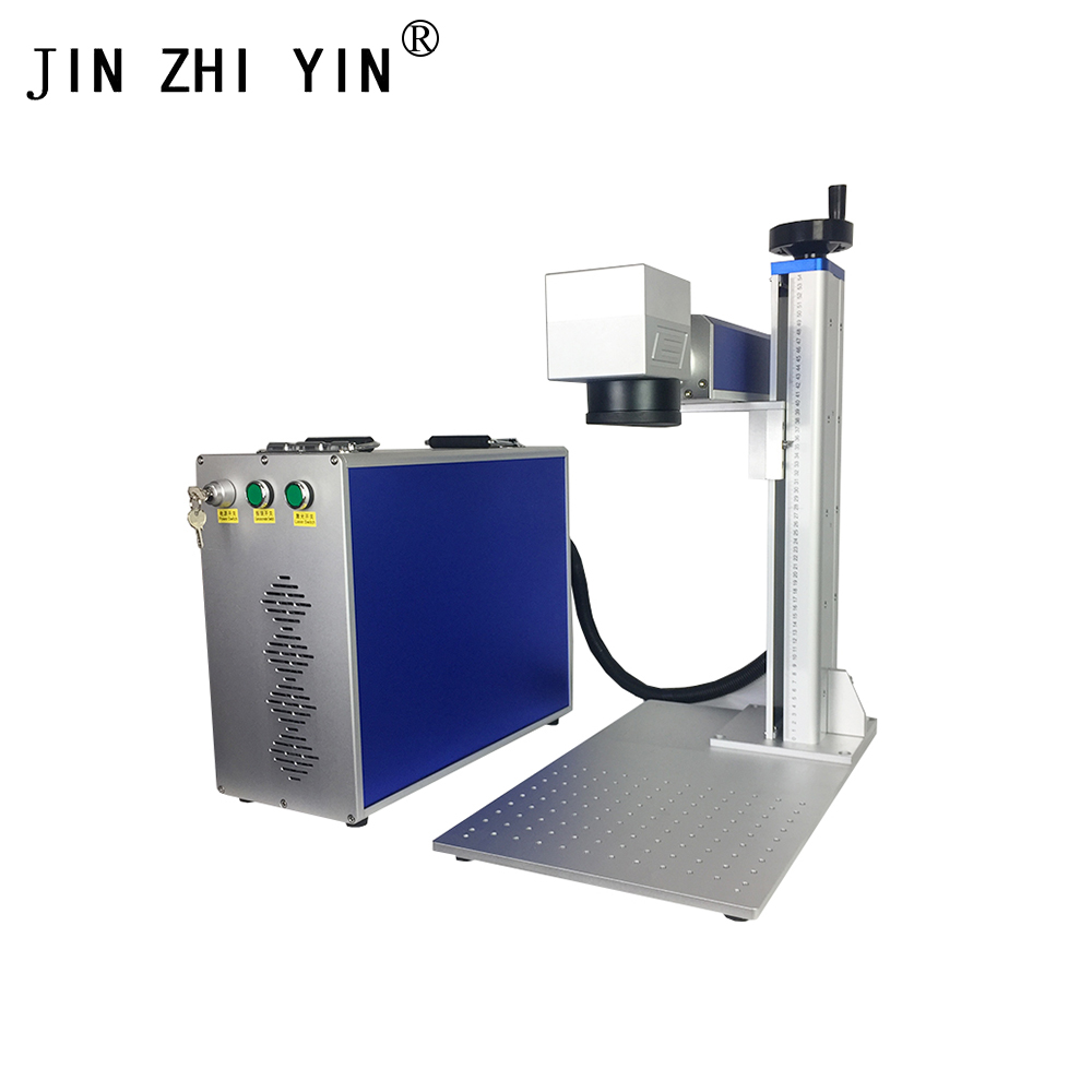 Factory Price 20W Fiber Laser Metal Marking Machine With A Rotary Device To Russia