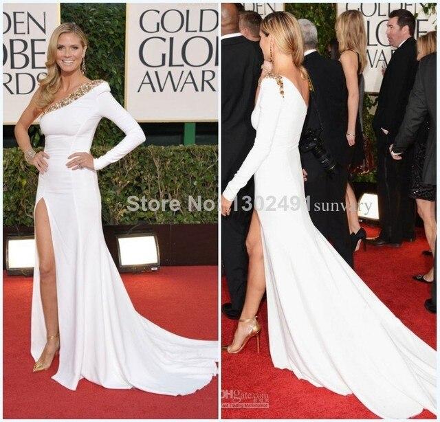 67b8191e07f Heidi Klum Golden Globes Red Carpet One Shoulder Long Sleeve White Slit  Side Bandage Celebrity Evening Gown