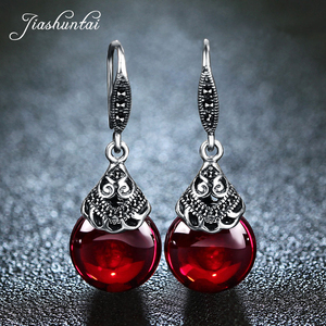 Image 3 - JIASHUNTAI Retro 100% 925 Sterling Silver Jewelry Sets Vintage Pendant Necklac Drop Earrings For Women Natural Stone