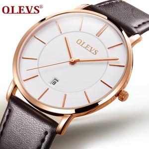 Image 4 - Olevs relógios masculinos marca de luxo esporte relógio de pulso à prova d30 água 30m ultrafinos relógio de quartzo data relógio masculino relógios de couro