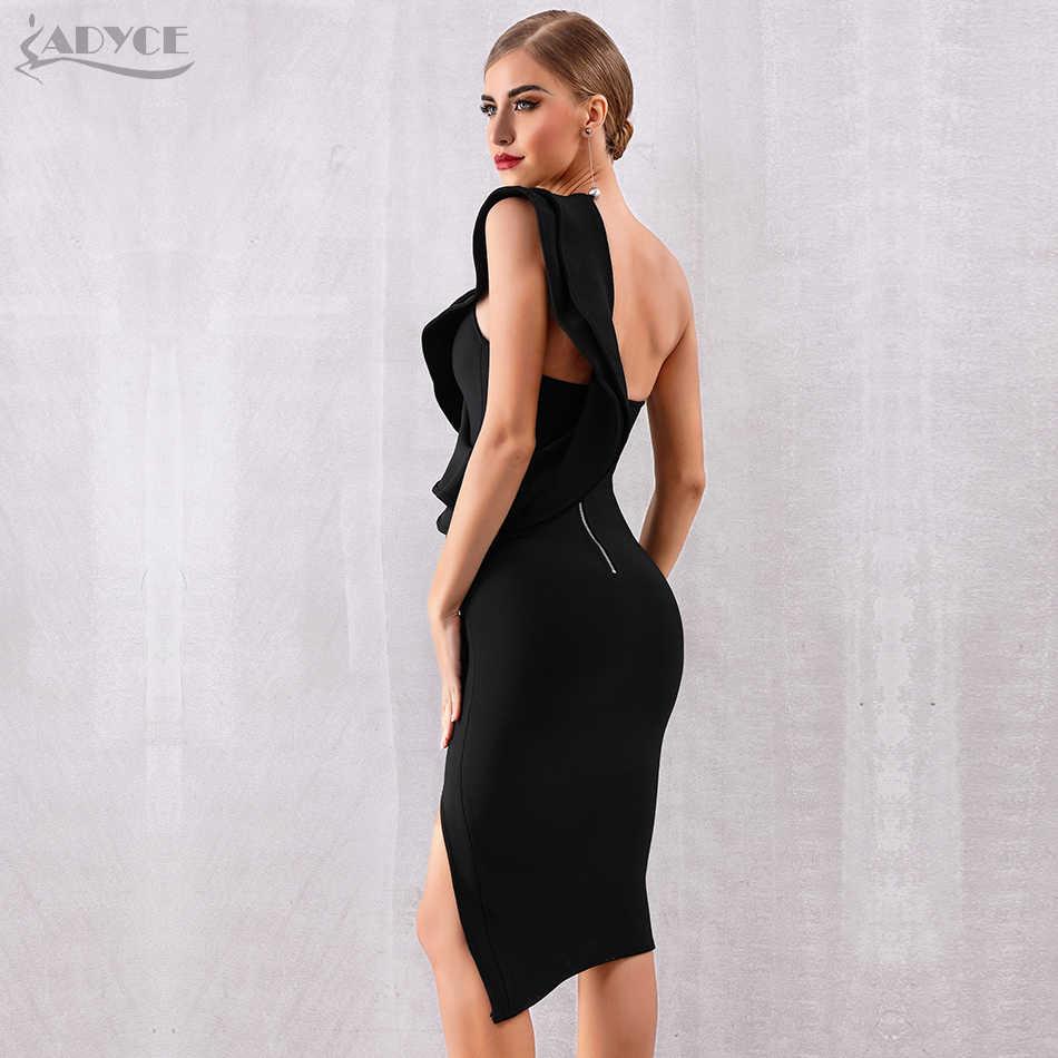 ADYCE 2019 новое летнее женское Бандажное платье знаменитость вечерние платья сексуальные одно плечо оборки Bodycon Клубное платье Vestidos