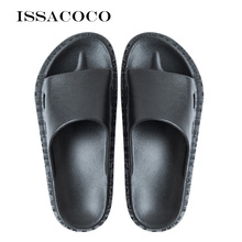 ISSACOCO Mens Slippers Summer Solid Color Men Casual Non-slip Jelly Beach Indoor Shoes Home