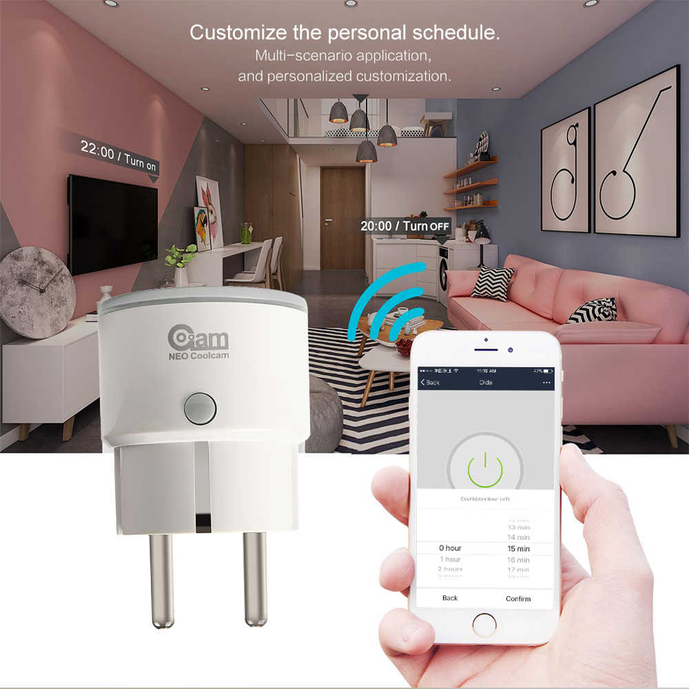 NEO COOLCAM Wifi Smart Plug EU Socket Support Alexa,Google Home,IFTTT Outlet With Timer and Remote Control Via Mobile Phone